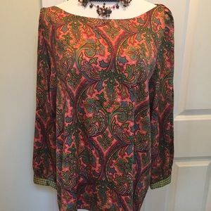 Loft dark peach/orange  paisley printed tunic